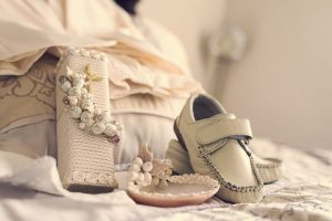 christening gown and shoes
